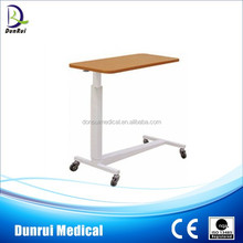 DR-399 Wooden Dinning Hospital Over Bed Table With Wheels
