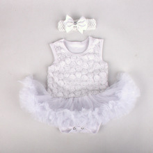 2015 new design fashion baby rompers dress with hairband rosette-trimmed romper dress for summer