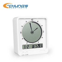 ABS modern table alarm clock with calendar and temperature display