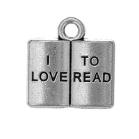 Simple Design Zinc Alloy I Love To Read Message Charms Pendant