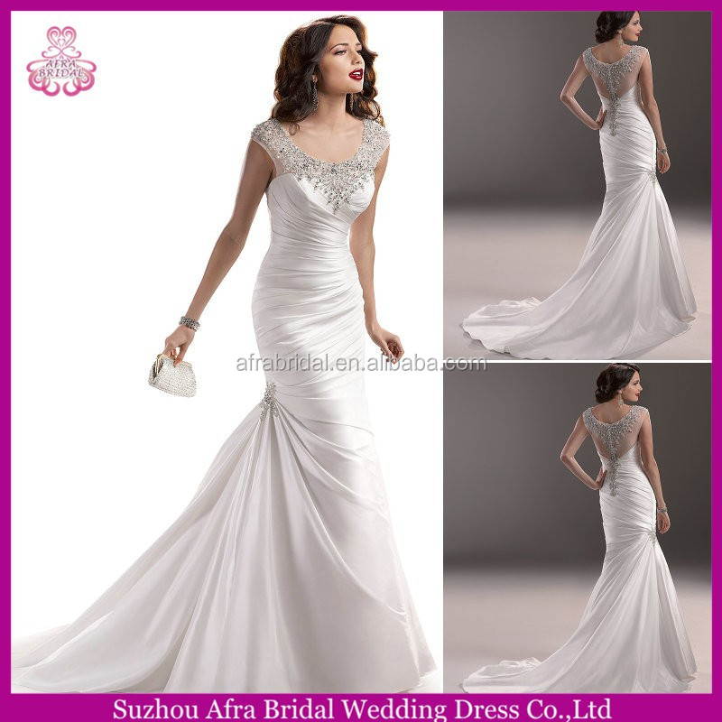 Qq3188 sheer bling back sexy mermaid satin used plus size for Plus size bling wedding dresses