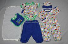 baby boys 7pcs set/creeper/pants/bib/hat/gloves
