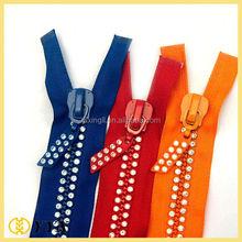 Close end rhinestones zipper with colorful diamonds, No3,5,8 garment cheap rhinestone zipper