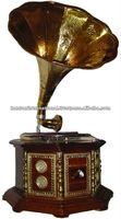Wooden antique style brassinlay gramophone with embossed brass horn