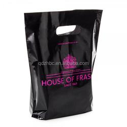 Custom design ldpe black die cut handle shopping plastic bag