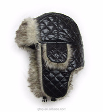 Customize leather faux fur trapper hat Russian winter ski earflap cap