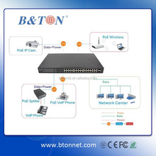 24 Ports Umanaged POE Switch 802.3af POE Ethernet to SFP Fiber Optical Gigabit Ethernet Switch