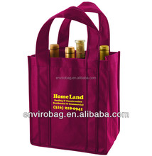 100% Recycled non woven 6 bottle wine tote bag