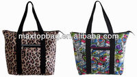 2013 Trendy Leopard Print Nylon Shopping Tote Bag with Zipper
