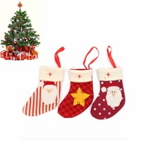 3Pcs Cute 3 Pattern Non-woven Xmas Stockings Christmas Tree Hanging Decorative Ornaments Candy Gift Packaging Bag