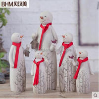 wholesale resin family snowman ornament for home deco