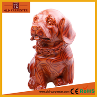 Wholesale Yellow sandal wooden house crafts animals Chinese Zodiac dog statue money drawing