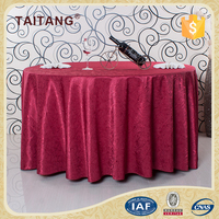 Handwork Hotel Modern Red Shiny Round Bamboo Table Cloth