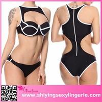 latest Black Cutout Back Zipper Sexy one piece girls swimwear and bikini