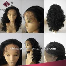 Heat Resistant Synthetic Hair Black Wavy topper wig