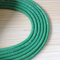 Luxury fresh green color genuine stingray wrapped leather cord for bracelet making