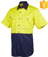 FR Unisex Two Tone Hi Vis Yellow/Navy Safety Work Wear shirts
