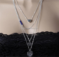 Four Layered Heart Round Beaded Pendant Link Chain Necklace Simple Necklace