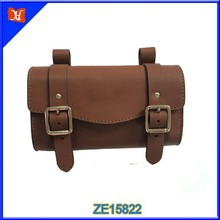 Brown leather electric bike battery bag bicycle seat bag Waterproof Bike Cycling Saddle Bag