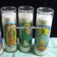 candle in glass jar with jesus image/7 day candle glass wholesale