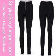 venta al por mayor sexy negro con cremallera ceñido elástico leggings sexy leggings fotos de las niñas