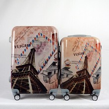 Customized Tower Printed ABS Luggage , PC Printed Travel Luggage
