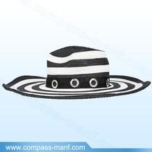 Lady stripe large wide brim summer beach floppy sun cruise hat