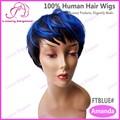 Azules elegancia de lujo destacó corto pelucas del pelo humano en línea tiendas venden pelucas
