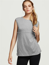 Cheapest grey O neck fitness ladies plain tank top