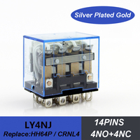 14pins led power relay AC DC 12V 24V electromagnetic mini relay silver contacts