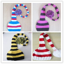 cute elf with long tail hats wholesale hand knitting newborn baby hats