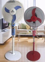 Emergency energy dc 12v to ac 220v 16'' inch stand fan with lamp