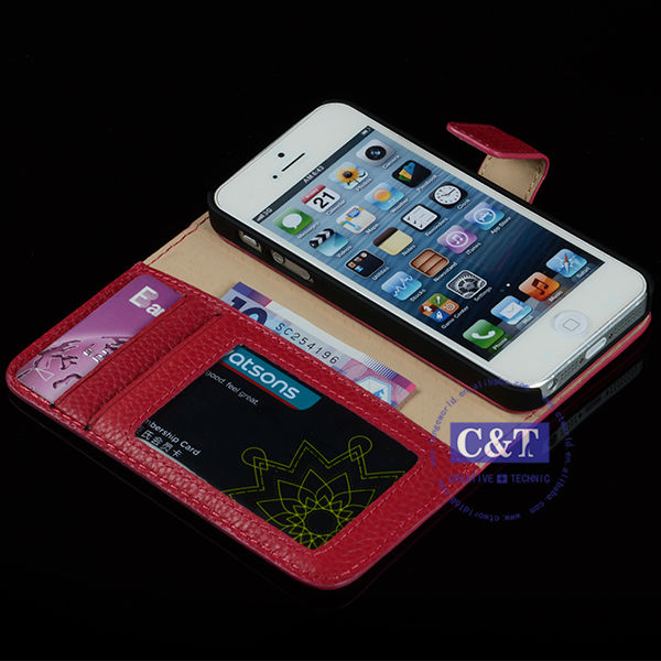C&T 2014 Luxury design hot selling wallet case for iphone 5