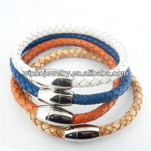 Cheap stainless steel magnetic clasps leather bracelet, mens leather bracelet