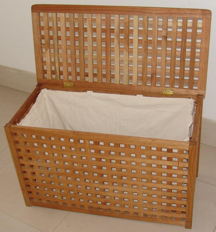 solide salle de bains en bois panier panier linge solide noyer avec 1 coton sac huil. Black Bedroom Furniture Sets. Home Design Ideas