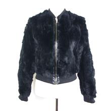 street fashion fur jacket black rabbit fur jacket ,KZ14091