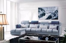 MD605 2015 new design luxury light blue velvet fabric living room sectional home furniture L shape fabric sofa