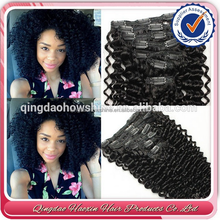 Factory price wholesale stock afro kinky curl brazilian hair clip in hair extension hair