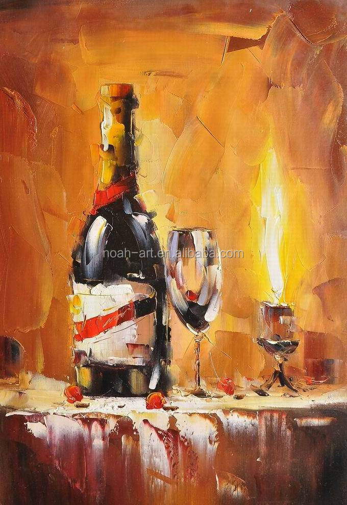 Decorative home decor wine bottle still life dining room for Dining room paintings sale