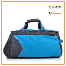 custom nylon sports duffle gym bag with shoe compartment