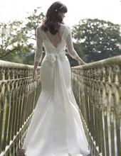 hecho de calidad de diseño de encaje sirena vestido de novia sin espalda apliques de flores con la decoración de arco 2014