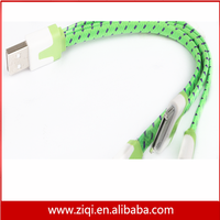 3 in 1 flat fabric braided usb cable high quality data charging line cable for mobile phone