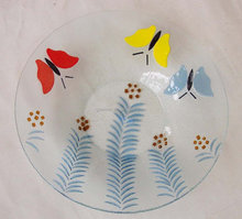Glass Charger Plate butterfly glass plate round glass plate