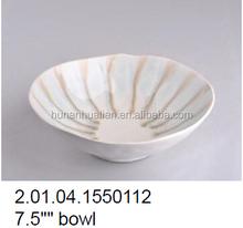 """2015 Chinese ceramic manufacturer, 7.5"""" irregular shape brown color crackle glaze salad bowl"""