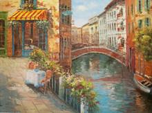 Artist Painted Italian Venice Bridge of Sighs Oil Painting on canvas