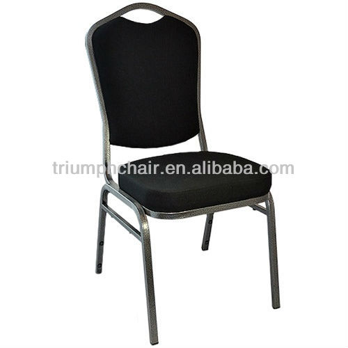 Triump black cushion banquet dining chair with metal frame stackable
