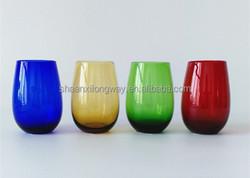 handmade solid colored tumbler glass stemless wine glass glass rocks