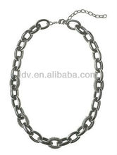 2013 Gun Black Pave & Smoothy Chain Jeweled Links Necklace
