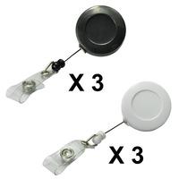 LIHAO Premier Black and White Office Retractable Badge Card Reel Holder Set en Plastic - Pack of 6 pcs