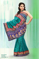 Blue Banarasi Silk Designer Stone Work Saree